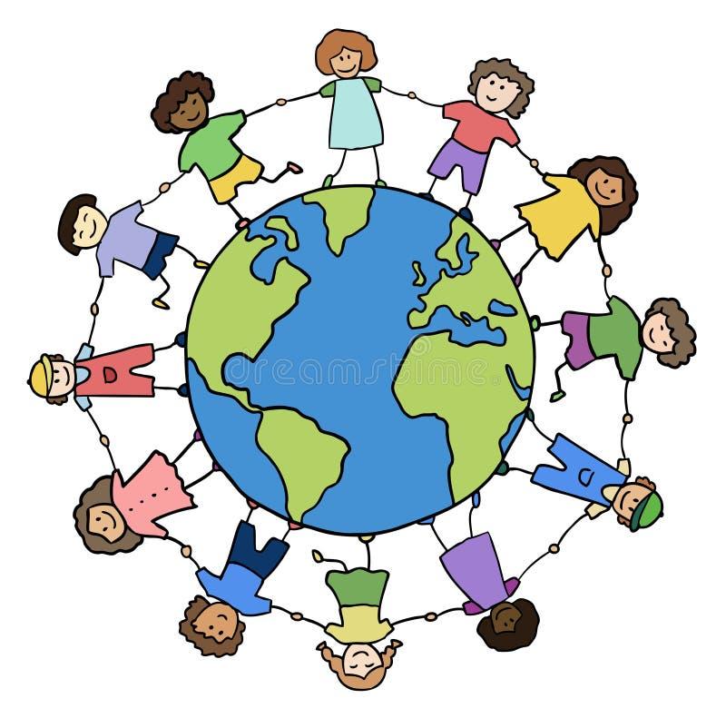 Niños que se sostienen para las manos alrededor del planeta ilustración del vector