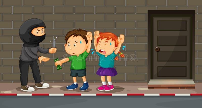 Niños que son con túnica en la calle stock de ilustración