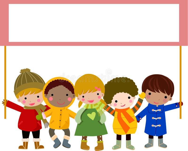 Niños que sostienen la bandera stock de ilustración