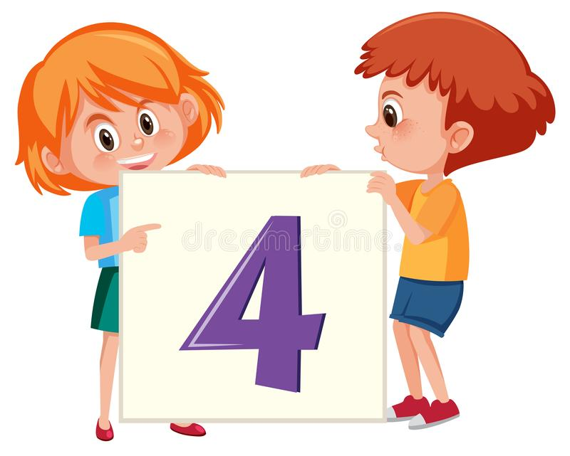 Niños que sostienen la bandera del número cuatro stock de ilustración