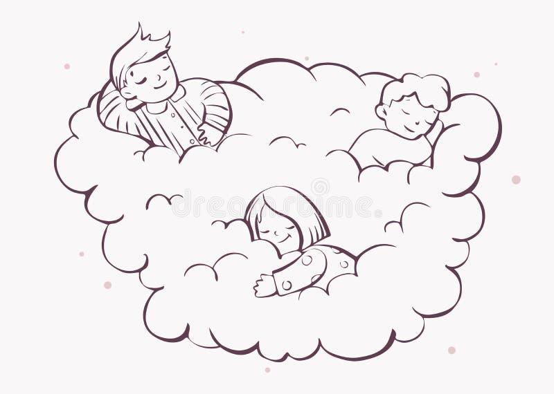 Niños que sueñan en el colorante de la nube Ejemplo del vector del estilo de la historieta libre illustration