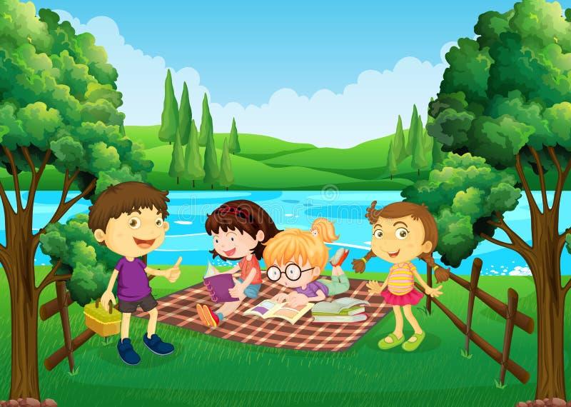 Niños que tienen comida campestre por el río stock de ilustración