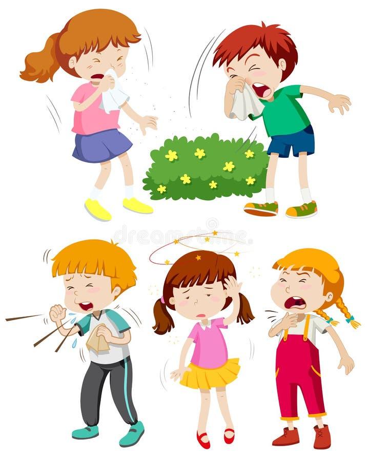 Niños que tienen frío y fiebre ilustración del vector