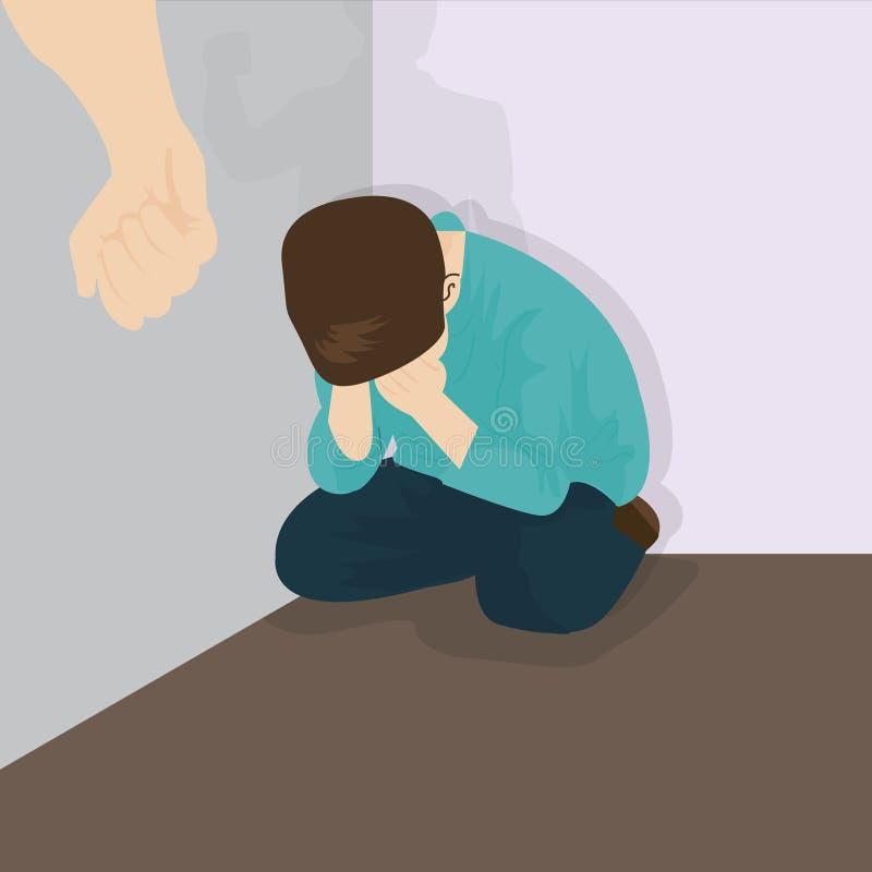 Niños que tiranizan de la violencia de la pederastia en esquina ilustración del vector