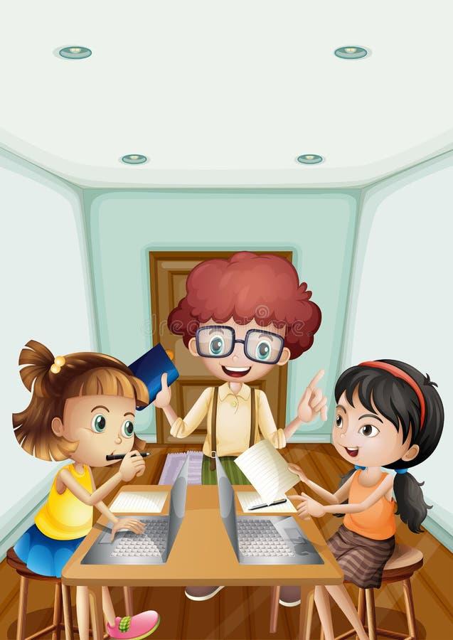 Niños que trabajan en el ordenador en el cuarto ilustración del vector