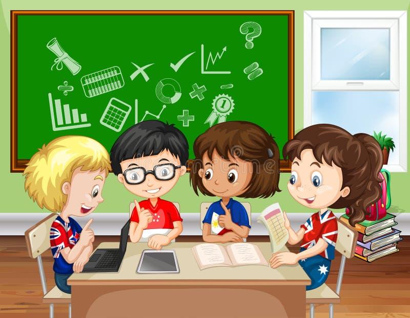 Niños que trabajan en grupo en la sala de clase libre illustration