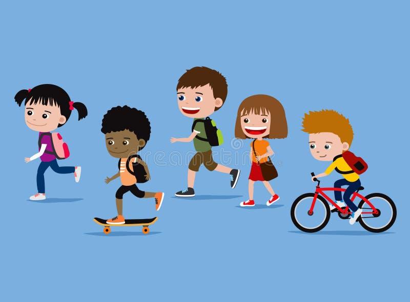 Niños que van a la escuela stock de ilustración