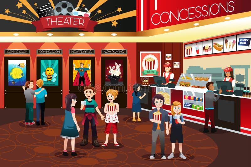 Niños que van a mirar películas libre illustration