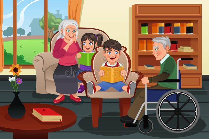 Niños que visitan una casa de retiro libre illustration