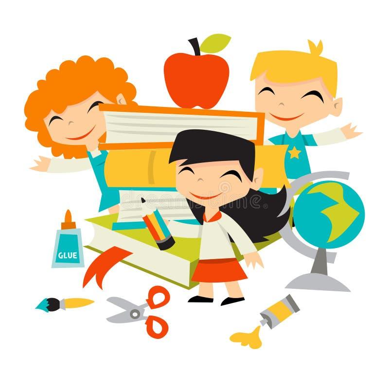 Niños retros de nuevo a los libros y a los efectos de escritorio de escuela stock de ilustración
