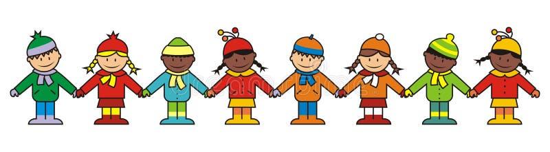 Niños, ropa del invierno stock de ilustración