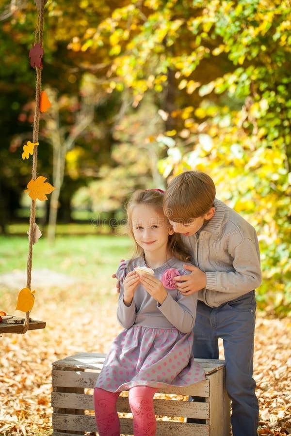 Niños sonrientes en el parque del otoño foto de archivo libre de regalías