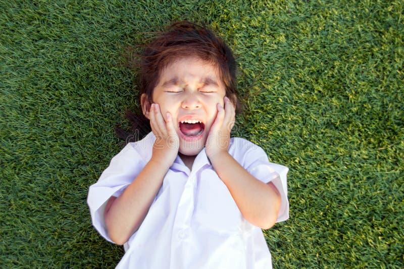 niños tailandeses asiáticos que lloran en hierba verde fotografía de archivo libre de regalías
