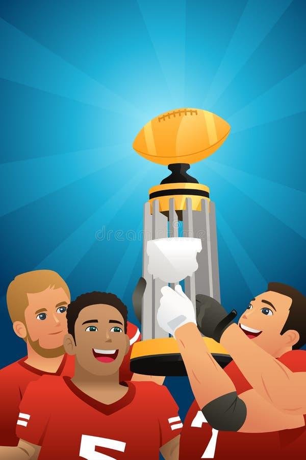 Niños Team Lifting Trophy Illustration del fútbol ilustración del vector