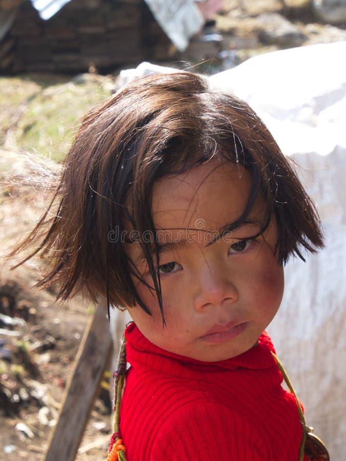 Niños tibetanos del refugiado de Tíbet en centro del refugiado Darjeelin foto de archivo
