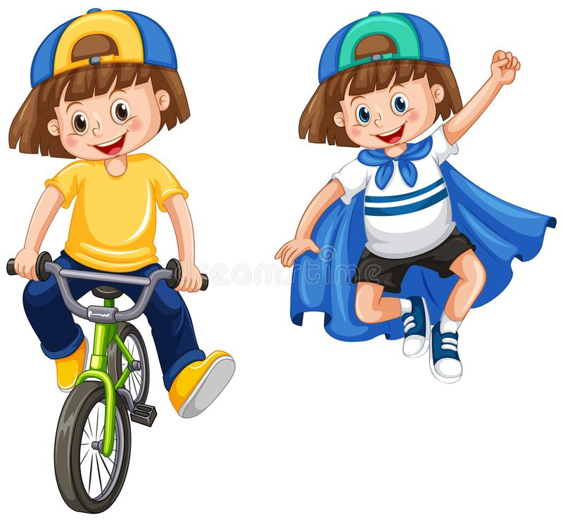 Niños urbanos en el fondo blanco stock de ilustración