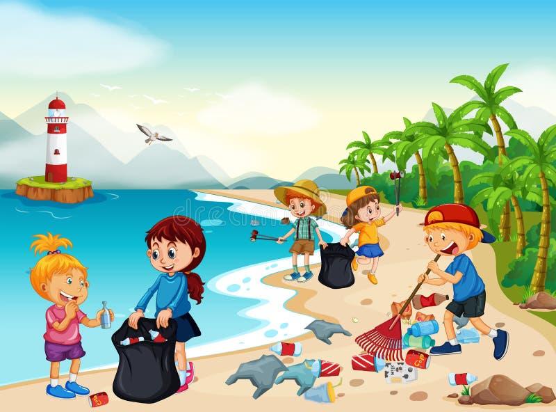 Niños voluntarios que limpian la playa stock de ilustración