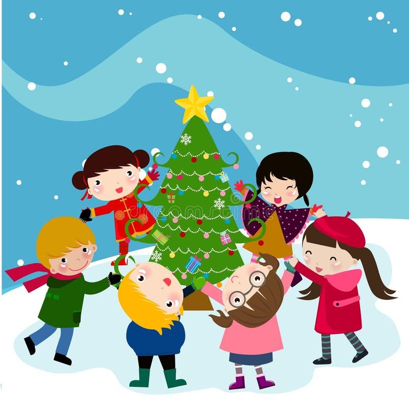 Niños y árbol de navidad stock de ilustración