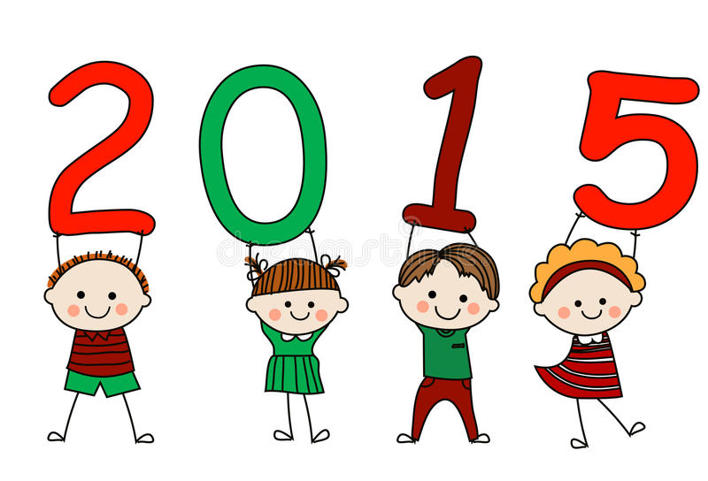 Niños y 2015 stock de ilustración