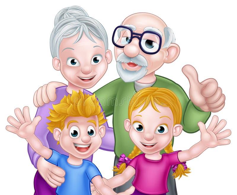 Niños y abuelos de la historieta libre illustration