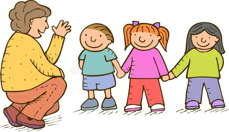 Niños y adulto ilustración del vector