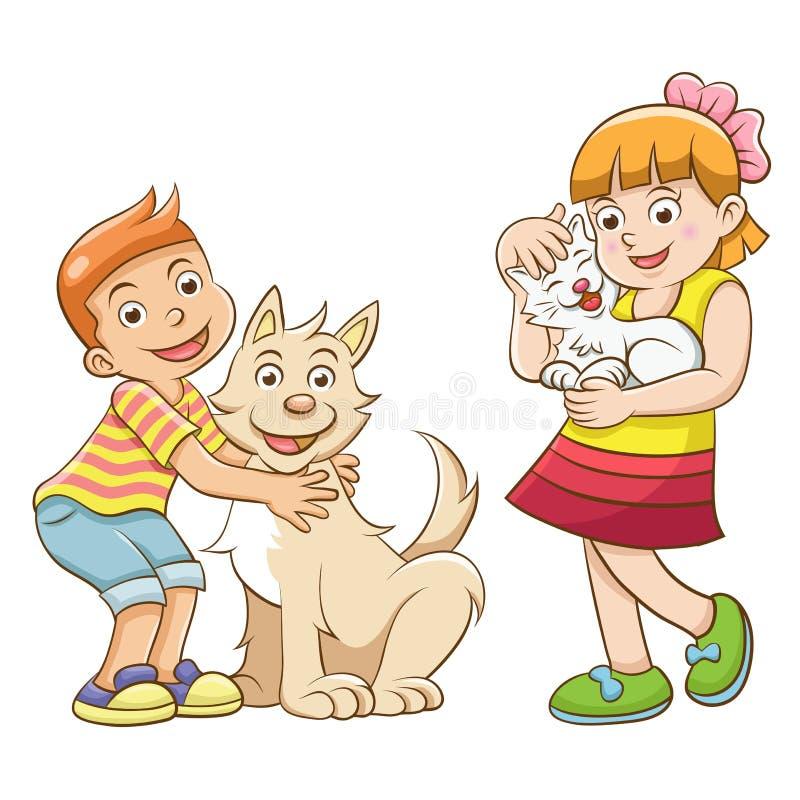 Niños y animales domésticos. stock de ilustración