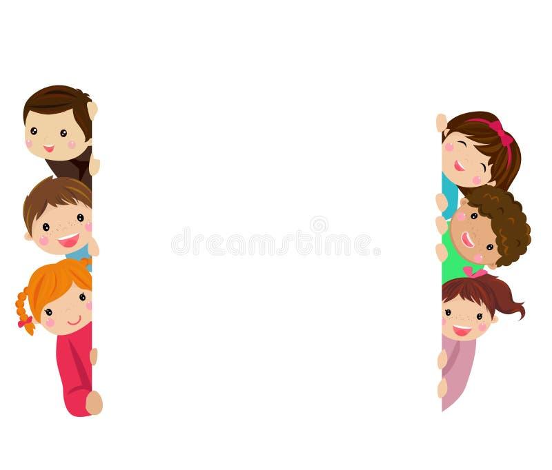 Niños y bandera ilustración del vector