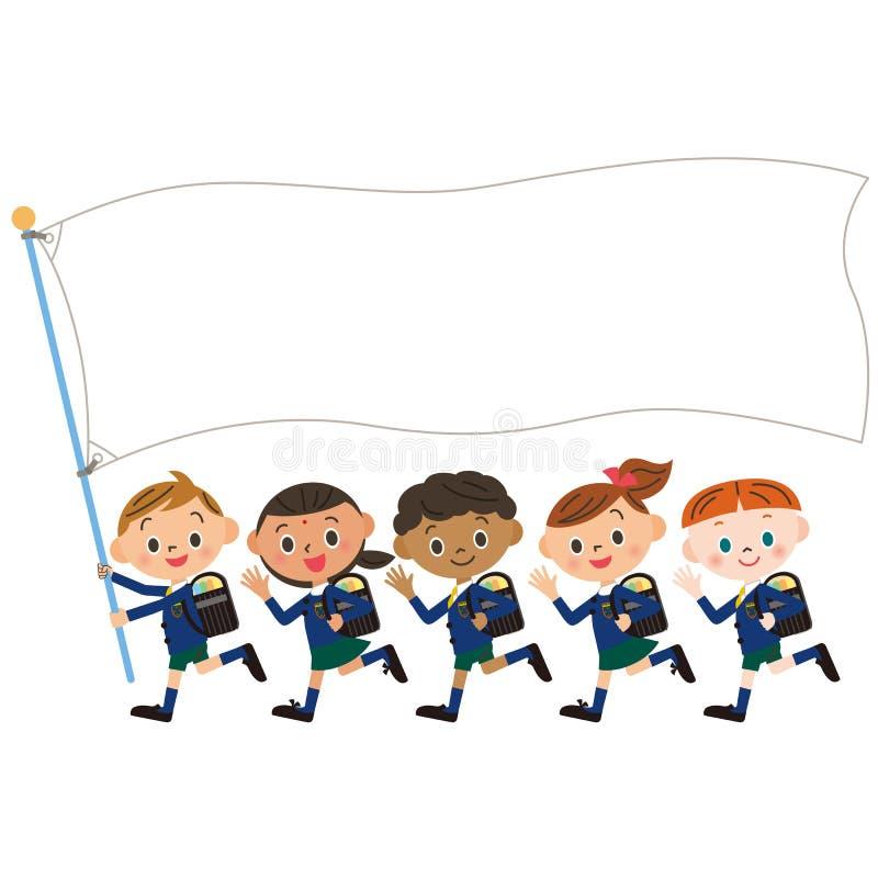 Niños y bandera del, estudio de Shinnyu libre illustration