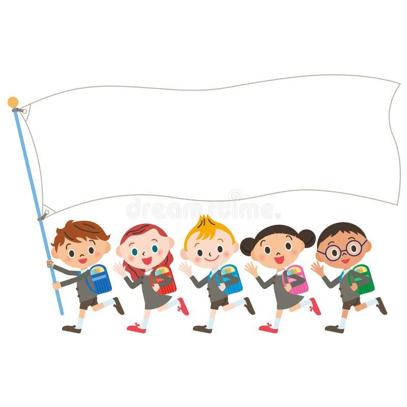 Niños y bandera del, estudio de Shinnyu stock de ilustración