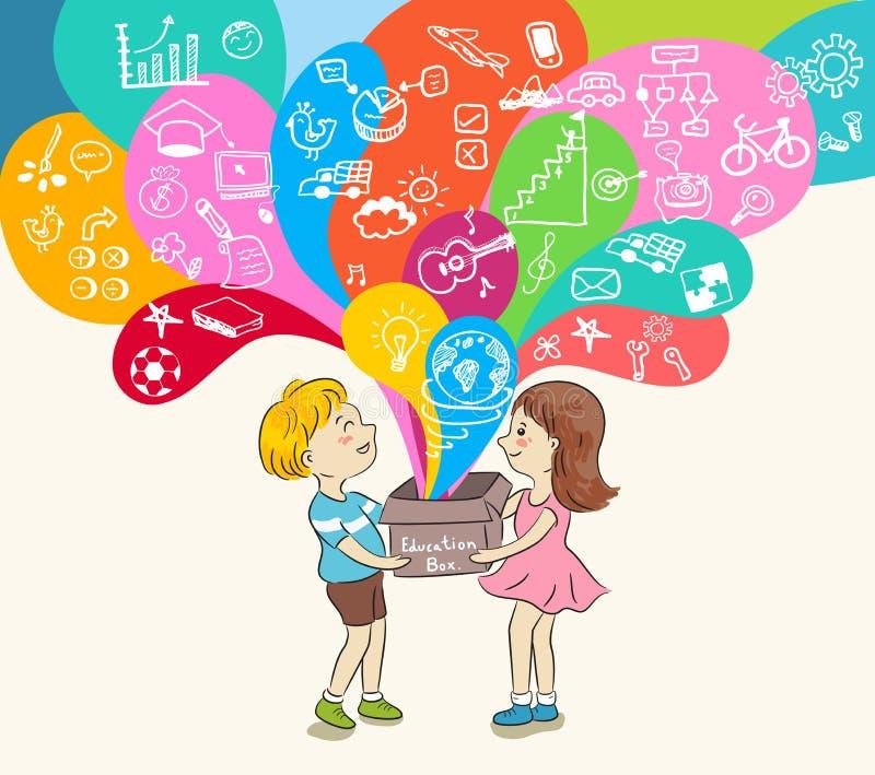 Niños y caja de la educación stock de ilustración