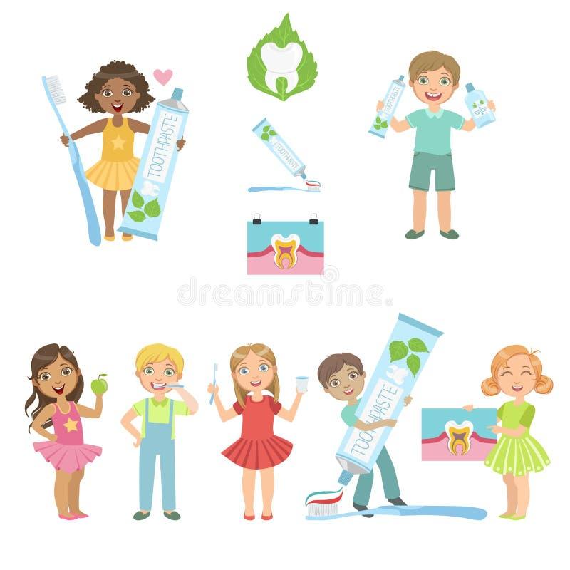 Niños y cartel del cuidado dental de la diversión stock de ilustración