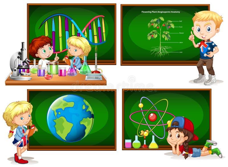 Niños y diversos temas de escuela stock de ilustración