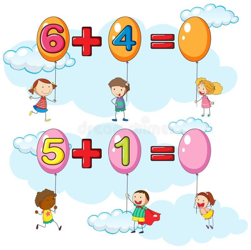 Niños y dos preguntas de la adición en cielo stock de ilustración