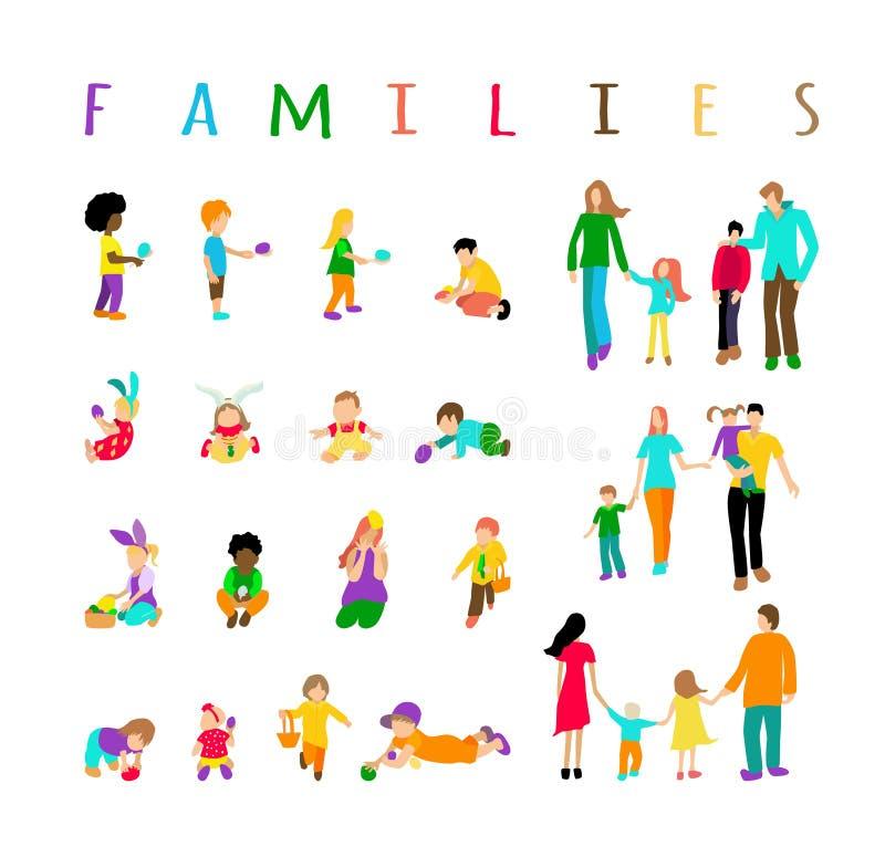Niños y familias multirraciales determinados del sistema libre illustration
