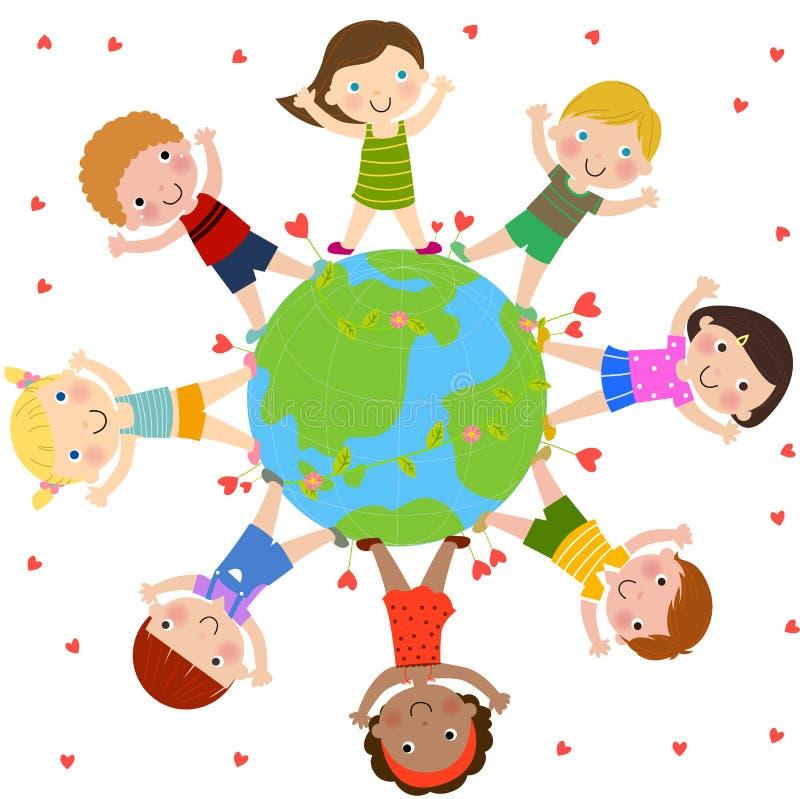 Niños y globo libre illustration