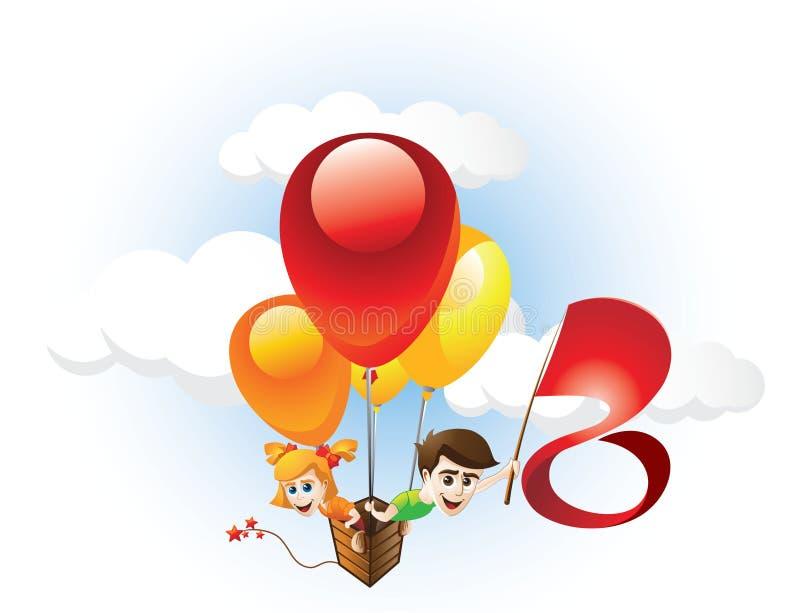 Niños y globo stock de ilustración