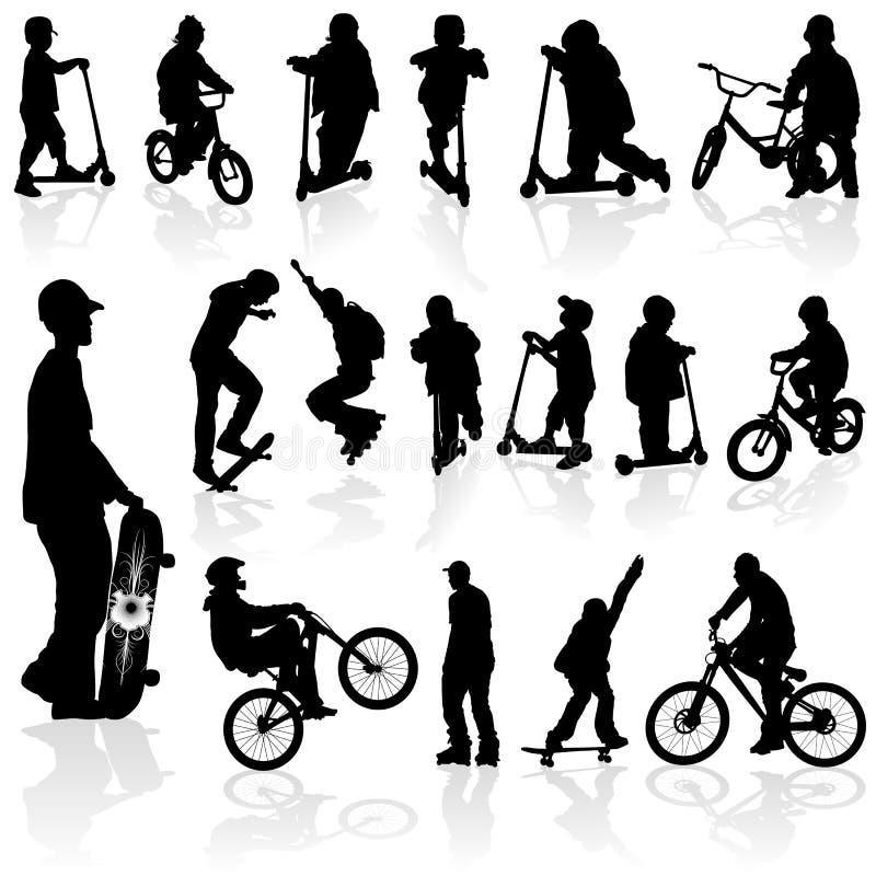 Niños y hombre de las siluetas libre illustration