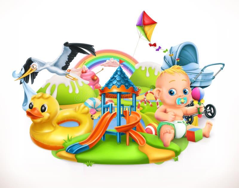 Niños y juguetes Ejemplo del vector del patio de los niños stock de ilustración