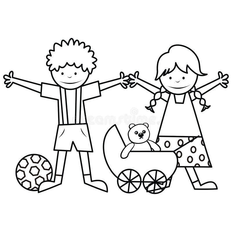 Niños y juguetes - libro de colorear stock de ilustración