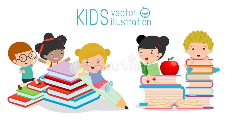 Niños y libros lindos, libros de lectura lindos de los niños, niños felices mientras que libros de lectura, de nuevo a escuela stock de ilustración