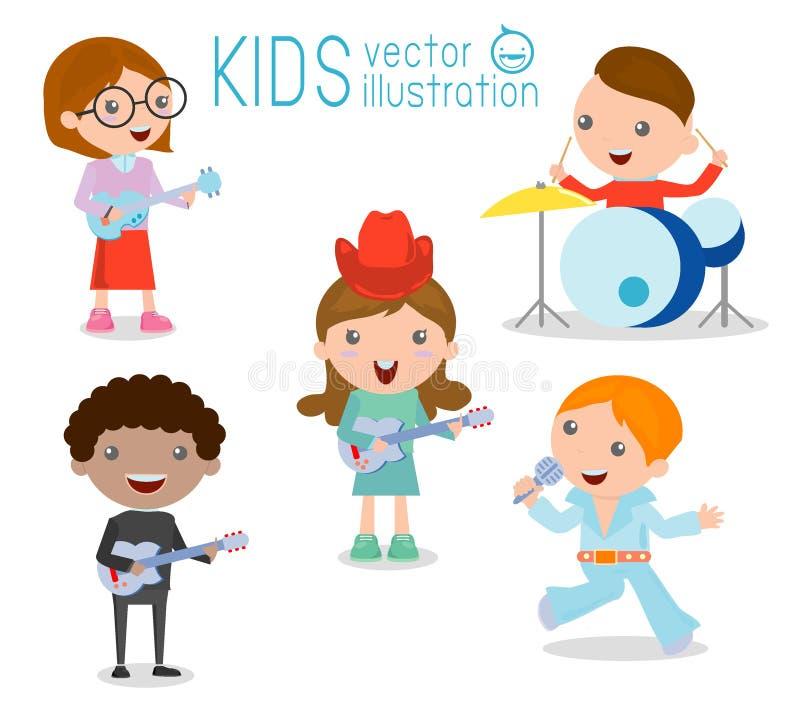 Niños y música, niños que tocan los instrumentos musicales, ejemplo de niños stock de ilustración