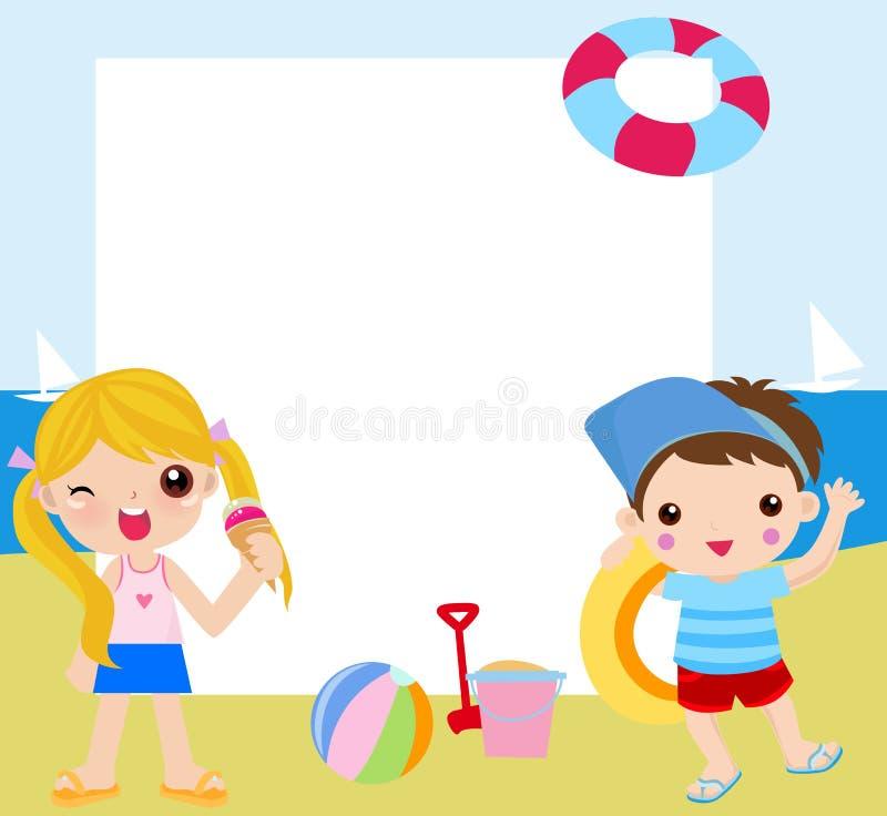 Niños y marco-verano ilustración del vector. Ilustración de muchacho ...