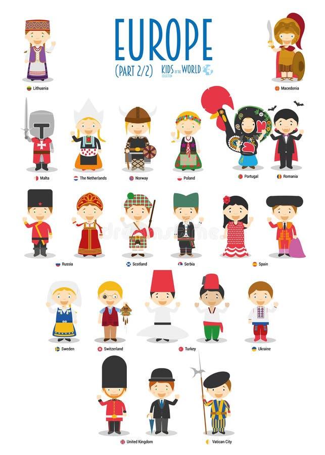 Niños y nacionalidades del vector del mundo: Europa fijó 2 de 2 libre illustration