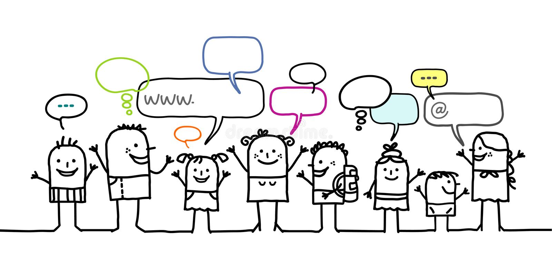 Niños y red social ilustración del vector