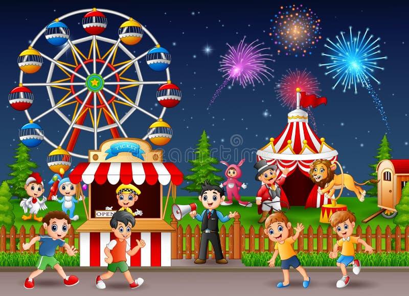Niños y trabajador felices de la gente en el parque de atracciones stock de ilustración