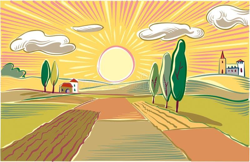 Niżowy rolniczy krajobraz przy rankiem royalty ilustracja