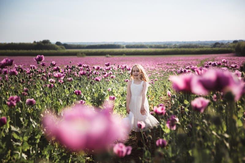 Ni?a adorable con el pelo largo en caminar solo del vestido blanco en el campo de Poppy Flowers de la lila fotos de archivo