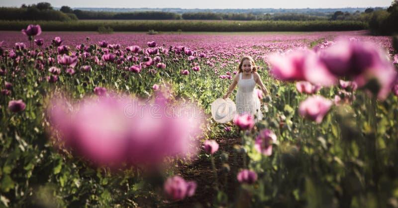 Ni?a adorable con el pelo largo en caminar solo del vestido blanco en el campo de Poppy Flowers de la lila imágenes de archivo libres de regalías