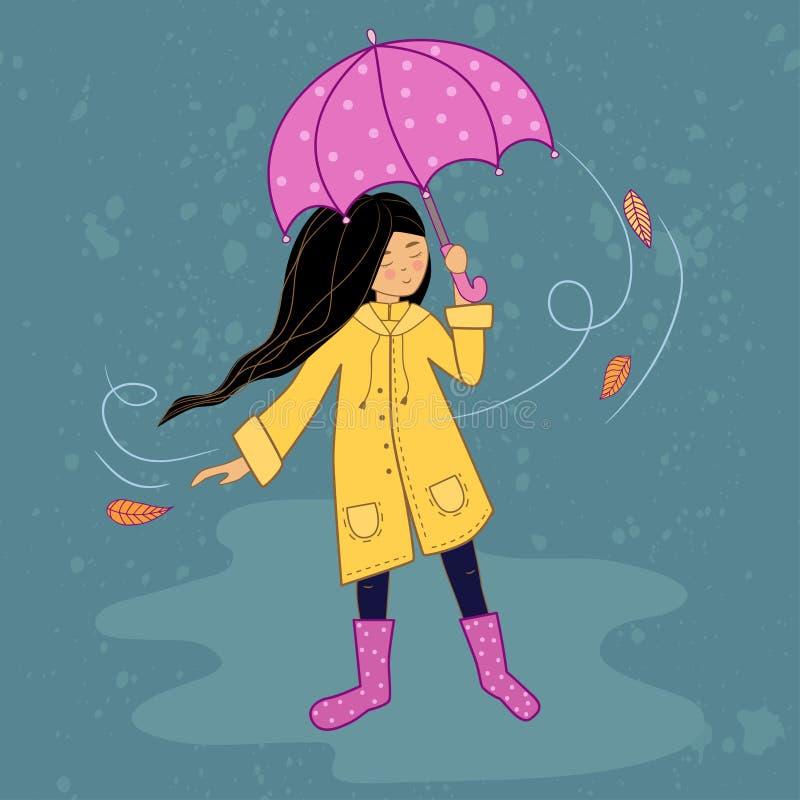 Ni?a con el paraguas rosado stock de ilustración