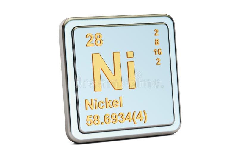 Ni del níquel, muestra del elemento químico representación 3d stock de ilustración
